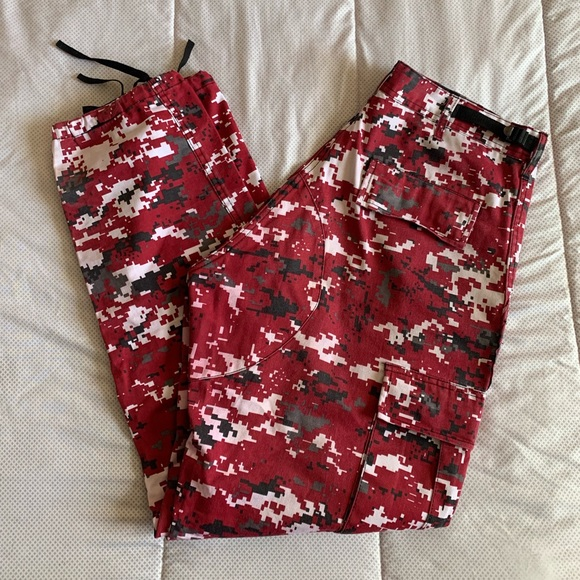 Denim - Red Camouflage Cargo Pants